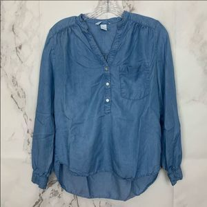 H&M Chambray V-Neck Long Sleeve Top